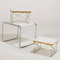 Charles and ray eames marcel breuer three tables two ltr and one occasional 1960s laminate matte chromed steel and zincplated metal manufactured labels largest 18 x 21 x 19