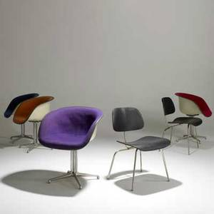 Charles and ray eames herman miller set of four la fonda chairs and pair of dcms usa 1960s painted plywood chromed steel cast aluminum molded fiberglass and canvas most with paper labels la