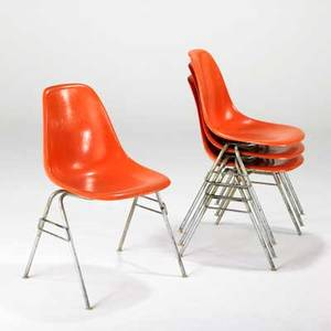 Charles and ray eames herman miller set of four stacking side chairs usa 1960s plastic and zincplated metal signed each 32 x 21 x 22