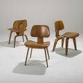 Charles and ray eames herman miller three dining chairs  dcws usa 1950s walnut and rubber impressed dcw each 29 x 19 12 x 22