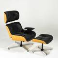 After charles and ray eames lounge chair and ottoman usa 1970s leather oak painted metal and chromed metal unmarked 40 x 31 12 x 31 ottoman 16 12 x 21 x 17