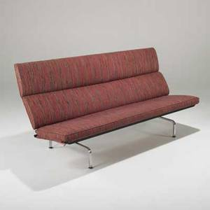 Charles and ray eames herman miller compact sofa usa 1950s plywood core upholstery and chromed steel unmarked 34 x 71 x 28