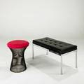 Florence knoll warren platner knoll associates bench and stool usa 1960s vinyl chromed steel wool and bronze bench labeled bench 17 x 36 x 18 and stool 20 x 17 dia