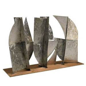 Studio threepart outdoor sculpture usa 1990s brushed stainless steel unmarked overall 48 x 74 x 16