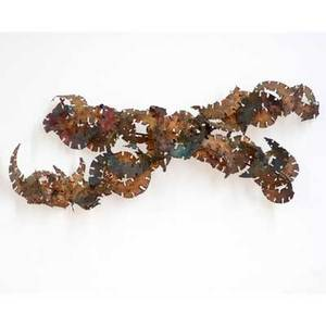 Silas seandel abstract wall sculpture usa 1970s piercedcut and patinated brass signed 44 x 19 x 7