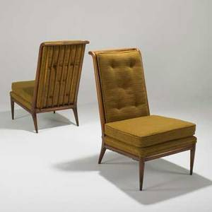 John widdicomb pair of tallback lounge chairs usa 1950s maple and upholstery stamped with model numbers each 40 x 24 x 32