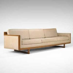 Th robsjohngibbings attr widdicomb threeseat sofa usa 1940s mahogany and wool upholstery widdicomb fabric label 29 x 108 x 32 34