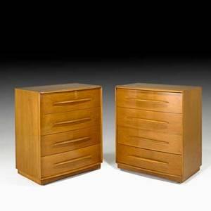 Th robsjohn gibbings pair of fourdrawer dressers grand rapids mi 1950s walnut brass fabric labels 39 x 34 x 21 12