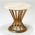Style of edward wormley occasional table usa 1960s travertine beech and brass unmarked 20 14 x 21 dia