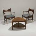 Paul mccobb lane pair of lounge chairs and occasional table usa 1960s walnut mahogany rosewood and ebony stenciled marks chair 33 12 x 24 x 21 table 18 x 27