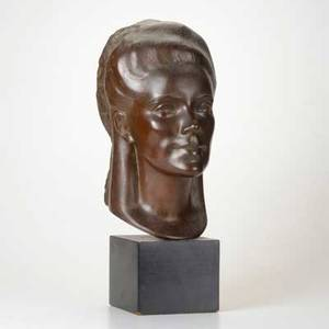 Boris lovetlorski russian american 18941973 bronze bust of a woman on lacquered wood base signed lovet lorski 20 x 8 x 10