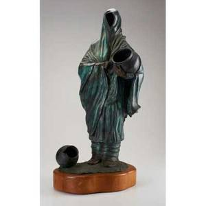 Matt cooper american 21st bronze sculpturerobed native american on wood base signed 230 31 12 x 12 x 15 12