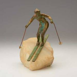 C jere artisan house bronze sculpture of downhill skier on marble base usa c1980 signed 10 34 x 8 x 5 12