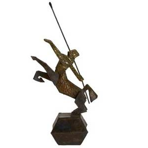 Studio sculpture of knight with javelin patinated bronze and steel 1960s unmarked 32 x 15 x 8