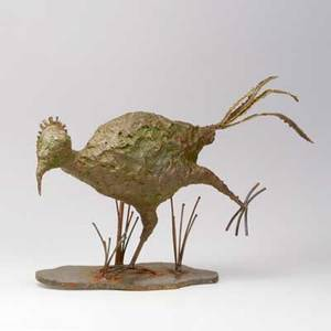 Silas seandel roadrunner table sculpture usa 1974 patinated bronze and steel signed and dated 14 12 x 23 x 6 12
