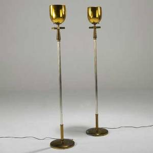 Style of tommi parzinger stiffel pair of torcheres usa 1960s brass and plated metal unmarked each 61 x 11 dia