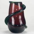 Claire falkenstein salviati mauve glass vase with applied green trailing italy 1970s engraved salviati approx 11 34 x 9 x 7
