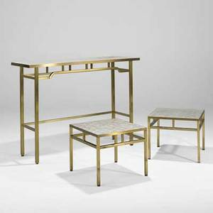 Italian console table and pair of occasional tables 1950s brass capiz shell unmarked console 34 12 x 48 x 15 12 occasional tables 15 14 x 18 sq