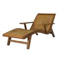 Style of charlotte perriand teak and woven cane chaise 27 x 33 x 61