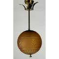 Austrian art deco hanging pendant lamp c1920 frosted and engraved amber glass globe brass unmarked to cap 24 x 10 dia