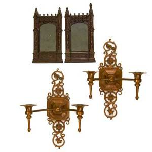 Oscar bach four pieces pair of sconces and gothic revival mirrors new york 1920s bronze patinated metal mirrored glass marked each sconce 14 12 x 11 x 6 12