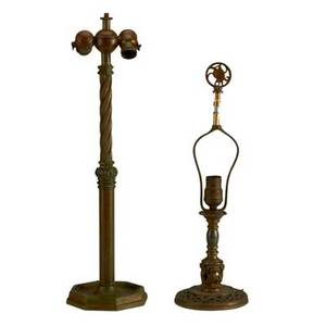 Oscar bach two patinated bronze table lamps new york c1923 marked taller 23 12