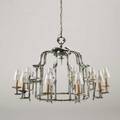 Style of arthur court faux bamboo chandelier usa 1970s cast aluminum and glass unmarked 23 x 34 x 25