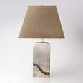 Pierre cardin brushed aluminum table lamp france 1970s impressed logo overall 30 x 18 x 14