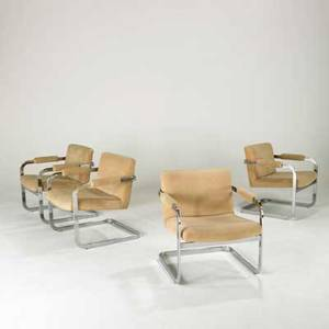 Patrician set of four lounge chairs usa 1970s chromed steel and upholstery unmarked each 28 x 26 x 26