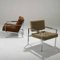 Milo baughman thayer coggin two lounge chairs usa 1970s chromed steel and upholstery one labeled larger 28 x 29 12 x 33