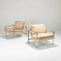 Milo baughman thayer coggin pair of club chairs usa 1970s chromed steel cotton velvet unmarked each 27 x 28 34 x 28 34