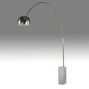 Pier and achille giacomo castiglioni flos arco floor lamp italy 2000s brushed steel aluminum and marble as shown 98 12 x 13 x 78 12 provenance rory and eli tahari