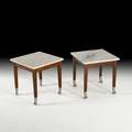 Philippe starck driade pair of rolling neoz occasional tables italy c 200 marble and mahogany labeled each 17 x 16 sq provenance rory and eli tahari