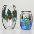 Stephen lundberg lundberg studios two paperweight glass vases one with butterflies the other with aquarium scene davenport ca 19941996 signed and dated largest 8 12 x 5 dia