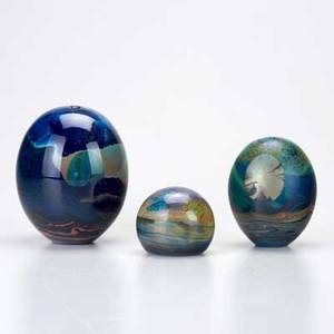 John lewis three art glass moon paperweights california 1970s each signed and dated largest 5 12