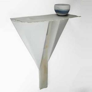 Paula winokur unglazed porcelain sculpture table with bowl series ii philadelphia 1987 signed and dated overall 36 x 27 x 11 bowl 4 x 6