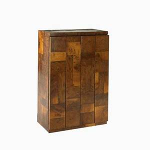 Paul evans cityscape bar cabinet usa 1970s burled walnut laminate glass unmarked 36 x 24 x 13 12