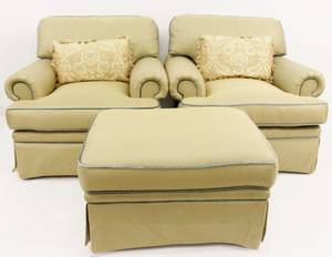 Pair of EJ Victor Chairs with Ottoman
