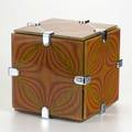 Op art cube tabletop sculpture usa c1970 enameled glass and chromed metal unmarked 8 34 sq