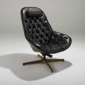George mulhausar plycraft tilt and swivel lounge chair usa 1960s vinyl and walnut mr chair label 40 x 34 12 x 32