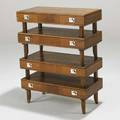 Mastercraft tiered console table usa 1950s walnut and nickeled metal unmarked 31 x 24 x 12 12