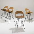 Arthur umanoff two pair of bar stools usa 1950s birch paper cord and painted steel  unmarked taller 39 12 x 19 x 16
