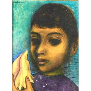 Juan deprey puerta rican 19041962 oil on canvas board boy with horn shell framed signed 16 x 12