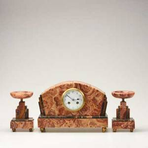 French art deco marble and onyx garniture set clock and two pedestals c 1930s unmarked clock 8 34 x 12 12 x 4 12