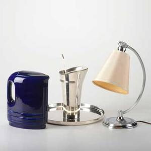 American art deco five pieces chase chrome table lamp and cocktail mixer stirrer and tray together with hall china glazed ceramic pitcher designed by raymond loewy for westinghouse c1950 all m