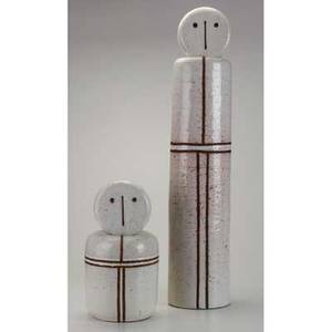 Raymor rosenthal netter two glazed ceramic totem sculptures italy 1950s paper label to larger tallest 31 12