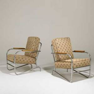 Art deco pair of lounge chairs usa ca 1930 chromed and bent tubular steel birch and upholstery unmarked each 37 x 24 x 32