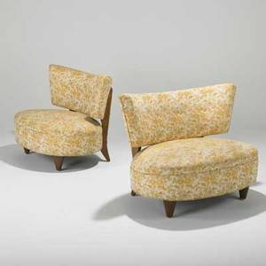 Style of gilbert rohde pair of lounge chairs usa c1940 birch and upholstery unmarked each 30 x 37 x 30