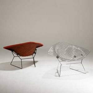 Harry bertoia knoll associates pair of diamond lounge chairs usa 1960s enameled and chromed steel and upholstery unmarked each 27 x 44 x 33