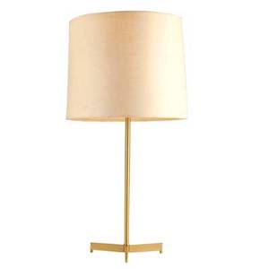 Danish modern tripod table lamp 1950s brass and linen shade single socket unmarked overall 29 12 x 15 x 9 12